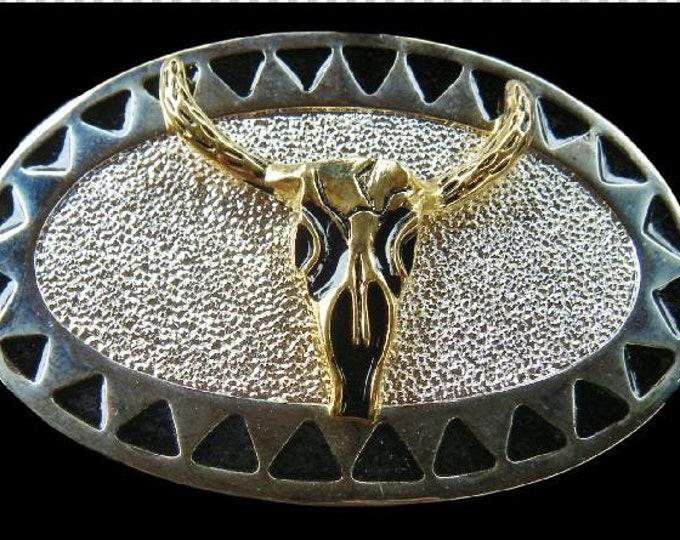 Western Texas Longhorn Steer Cowboy Belt Buckle For Men