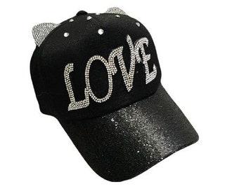 Love Bling Rhinestone Cat Ears Women's Baseball Cap Outdoor Sun Hat