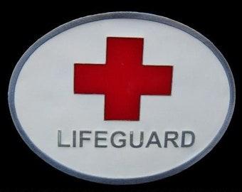 LifeGuard Beach Patrol Swimmer Sport Red Cross Saver Belt Buckle