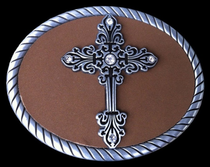 Floral Trophy Medieval Crusaders Cross Belt Buckle