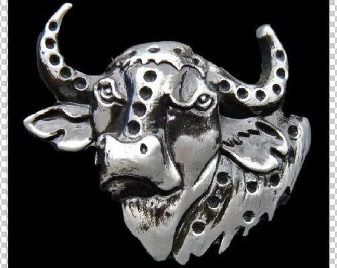 Longhorn Bull Cow 3-d Skull Cowboy Steer Belt Buckles