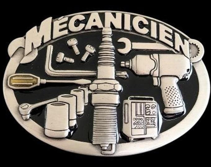 Mecanicien French Mechanic Car Truck Garage Tools Profession Belt Buckle