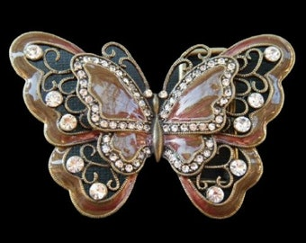 Brown Rhinestones Glitter Monarch Butterfly Butterflies Insect Belt Buckle Buckles