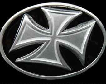 Iron Maltese Irish Celtic Crusade Era Cross Belt Buckle