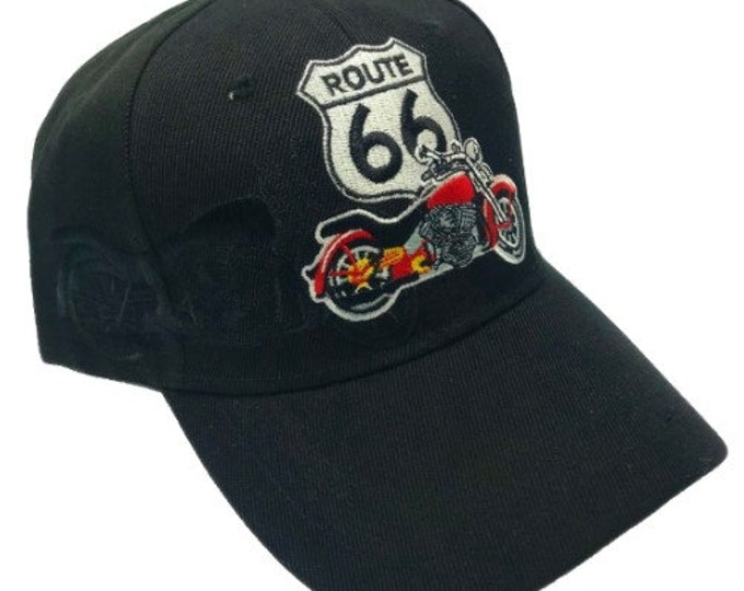 New Us Route 66 Moto Bikers Chopper Embroidered Baseball Ball Cap Hat Black
