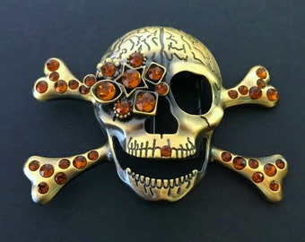 Rhinestone Skulls Cross Bones Skeleton Skull Belt Buckle Boucle de Ceinture