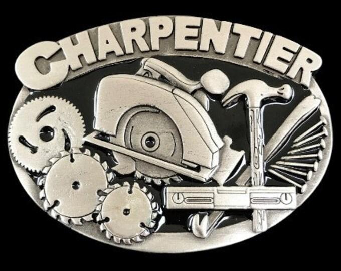 Charpentier French Carpenter Workshop Saw Hammer Tool Profession Belt Buckle