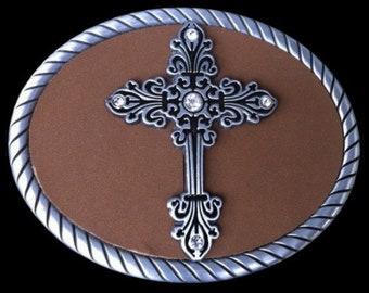 Floral Trophy Medieval Crusaders Cross Religious Belt Buckle