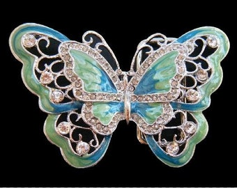 Blue Green Rhinestone Cool GLitter Butterfly Insect Fashion Belt Buckle Buckles