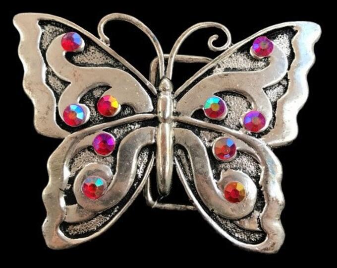 Red Rhinestone Butterfly Butterflies Insect Belt Buckle
