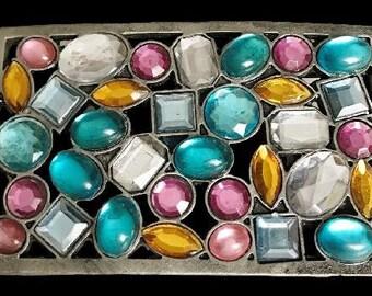Rhinestone  Colorful Stones Hippie Belt Buckle Buckles