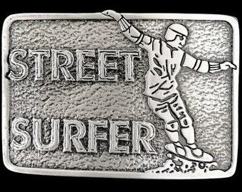 Street Surfer Skateboard Skateboarding Skate Board Skater Belt Buckle
