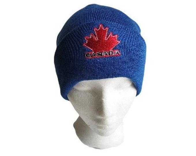 Canada Canadian Flag Red Maple Leaf Blue Unisex Ski Hat Beanie Hats Chapeau