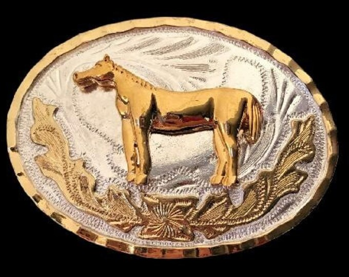 Golden Horse Equestrian Sports Western Belt Buckle