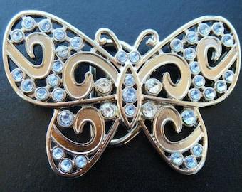 Light Blue Rhinestones Flying Butterfly  Belt Buckle Boucle De Ceinture