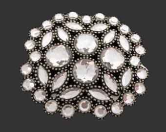 Beautiful White Crystal Rhinestone Dressy Belt Buckle Boucle De Ceinture