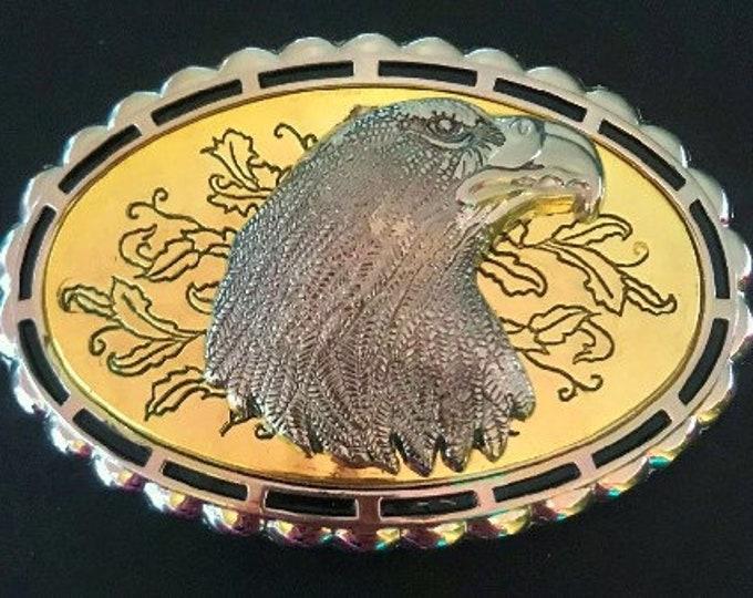 Western Golden Eagle Head Belt Buckle