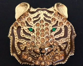 Exotic Gold Toned Rhinestone Tiger Green Eyes Belt Buckle