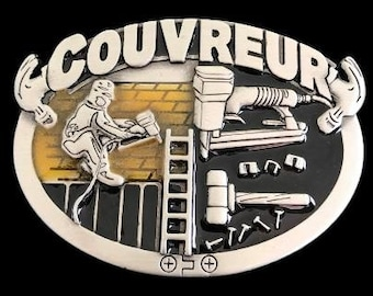 Couvreur Roofer Construction Worker Tools Profession Belt Buckle
