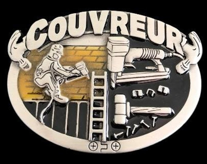 Couvreur Roofer Construction Worker Tools Profession Belt Buckle