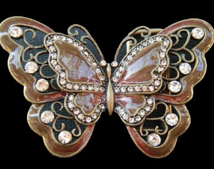 Brown Rhinestones Glitter Monarch Butterfly Butterflies Insect Belt Buckle Buckles