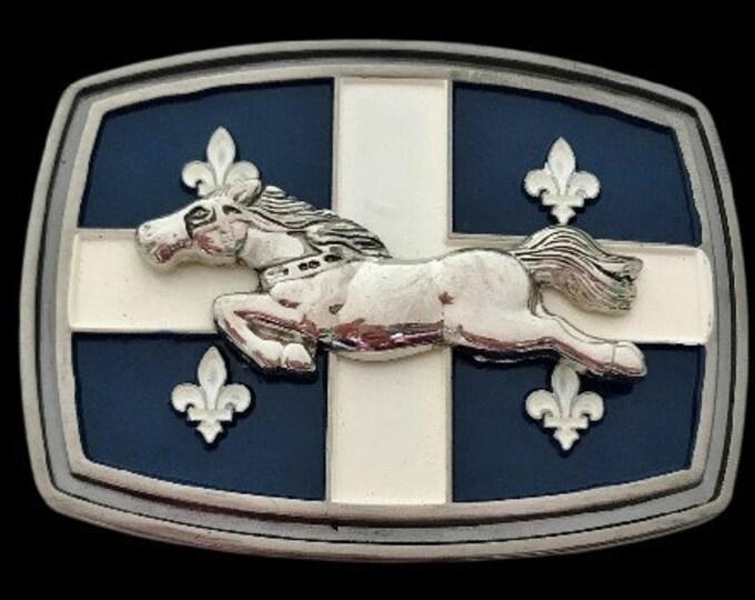 Quebec Cheval Canada Drapeau Quebecois Fleur De Lys Flag Belt Buckle Buckles