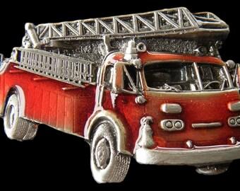 Firefighters Fireman Firemen Red Fire Dept Truck Trucks Belt Buckle Buckles