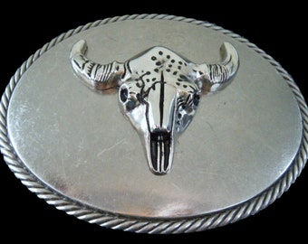 Cool Cow Steer Longhorns Big Western Belt Buckles