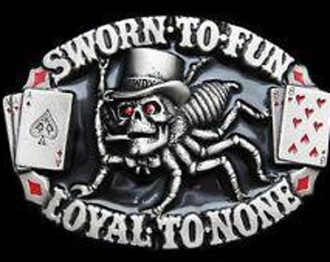 Spider Web Poker Cards Skull Sworn Fun Belt Buckle