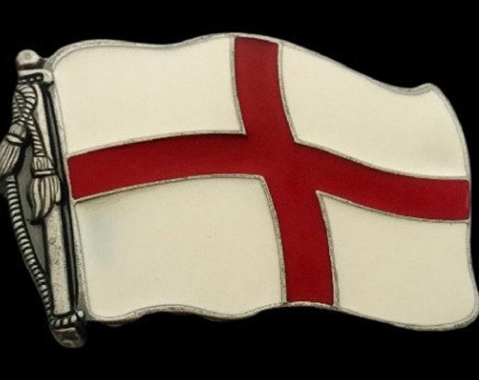 Flag of England St George's Cross Belt Buckle