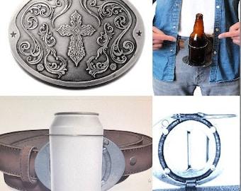Beer Bottle Beverage Can Bottle Holder Religious Cross Belt Buckle Buckles