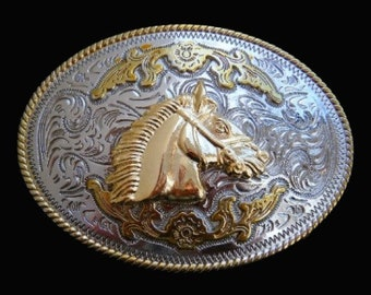 Two Toned Gold Silver Horse Horsehead Western Belt Buckle Buckles