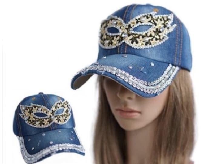 Mask Masquerade Rhinestone Women's Denim Baseball Cap Outdoor Sun Hat