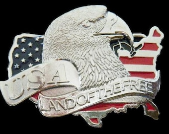 USA Land Of The Free American Bald Eagle Belt Buckle