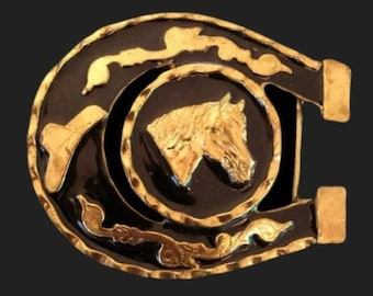 Horse Horseshoe Western Gold Toned Belt Buckle