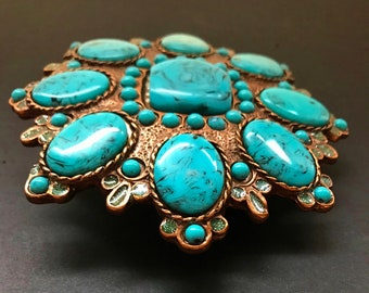 Flowers Baby Blue Turquoise Big Stones Girls Women's Flower Belt Buckle Buckles
