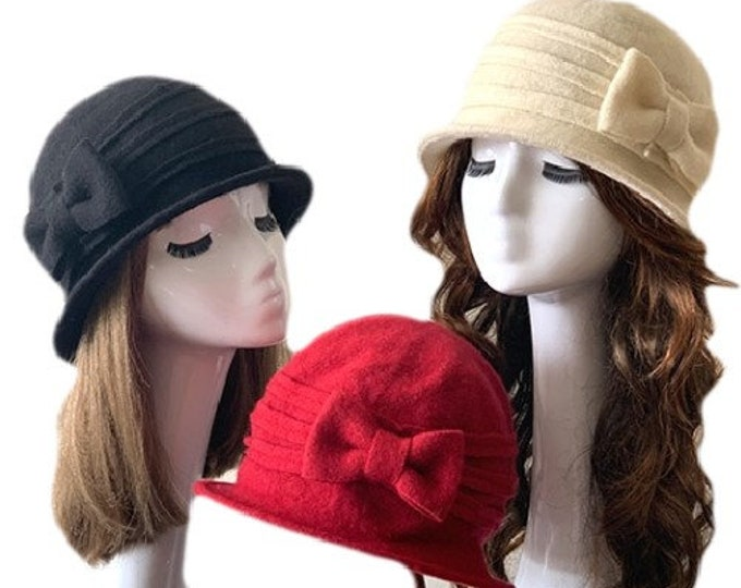 Bow Women's Ladies 100% Wool Bucket Cloche Beanies Winter Cap Hats