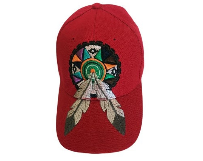Red Native Indian Dream Catcher With Feathers Hat Cap