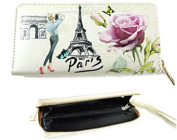 Paris City of Fashion Women's Zipper Clutch Wallet