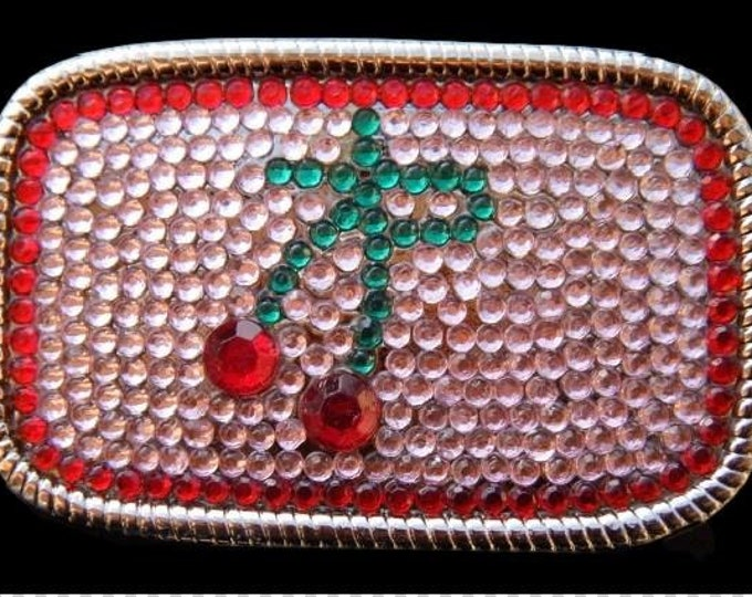 Rhinestone Red Pink Cool Retro Disco Hot Cherry Pop Belt Buckle Buckles