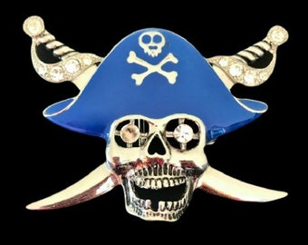 Pirate Skull Head Sword Human Skull Crossbones Belt Buckle Buckle