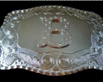 "Letter ""B"" Initial Monogram Name Initials Letters Alphabet Belt Buckle Buckles"