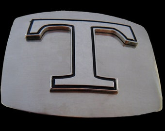 Initial T Letter Name Tag Monogram Chrome Belt Buckle Buckles
