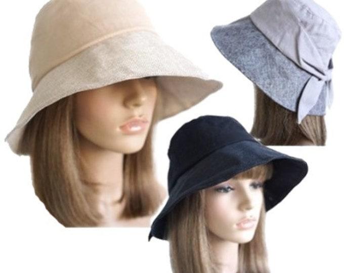 Women's Anti-UV Fashion Wide Brim Summer Beach Cotton Sun Bucket Hat