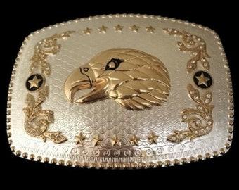 Golden Eagle Head Star Western Unisex Belt Buckle Buckles