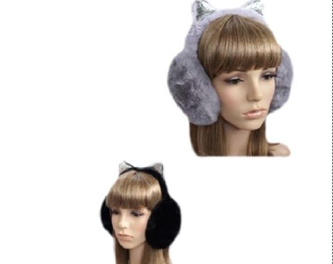 Faux Fur Warmers Earmuffs Big Winter Outdoor Ear Warmer With Ears