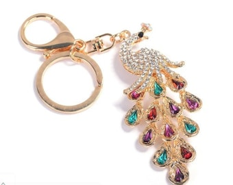 Peacock Keychain Key Ring Long Pendant Women Handbag Fashion Accessories Souvenir Gift