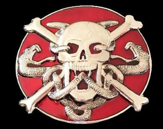 Skull Head Crossbones Evil Snakes Venom  Belt Buckle