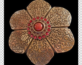 Classy Bronze Colored Floral Flower Red Stone Brass Belt Buckle