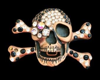 Skull Crossbones Pirate Bling Rhinestones Belt Buckle Hip Halloween Costume